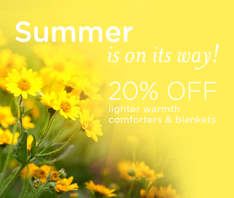 20% off Lighter Warmth Comforters and Blankets