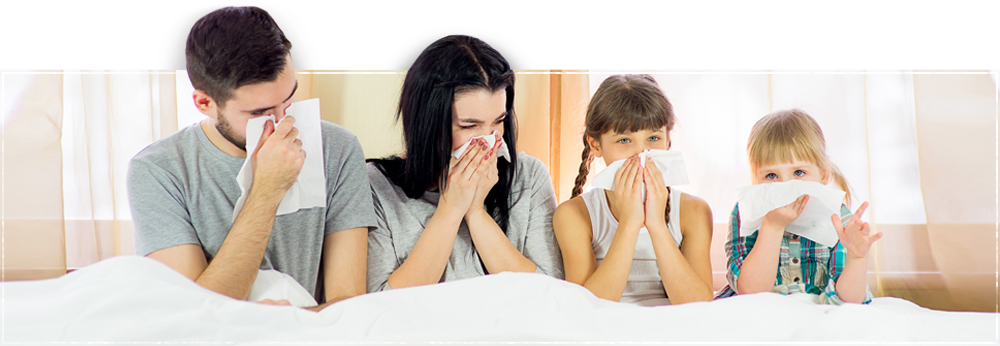 image of a family sneezing