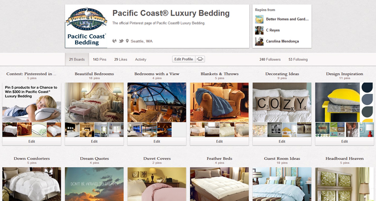 The Pacific Coast Bedding Pinterest page.