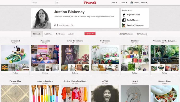 Justina Blakeney's Pinterest page.
