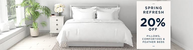 20% Off Comforters, Feather Beds & Pillows