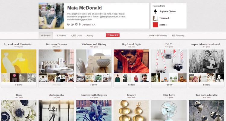 Maia McDonald's Pinterest page.