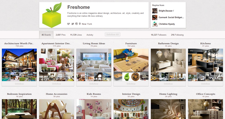 The Freshome Pinterest page.