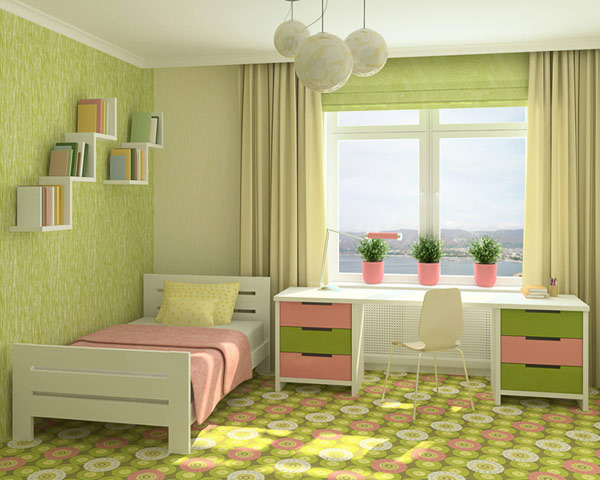 Example of a bedroom with an interesting color scheme.