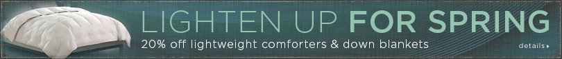 20%off lighter weight comforters and blankets