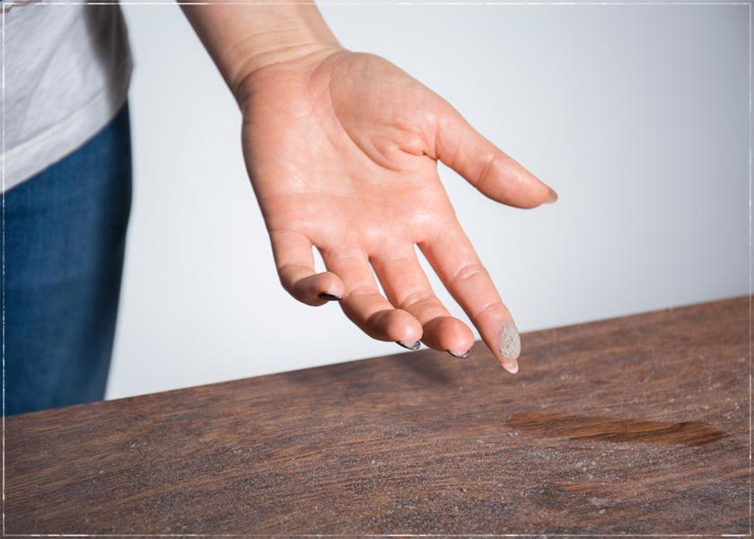 dust on table